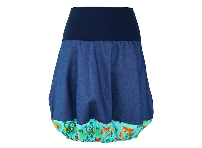 Skirt denim skirt Skirt jeans Bubble skirt blue turquoise Jerseybund denim cotton Woman Balloon