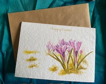 Happy Easter WILDFLOWER SEEDED PAPER Greetings Card