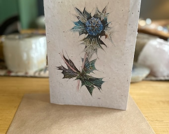 WILDFLOWER SEEDED PAPER Sea Holly Flower Greetings Card Ideal for Easter
