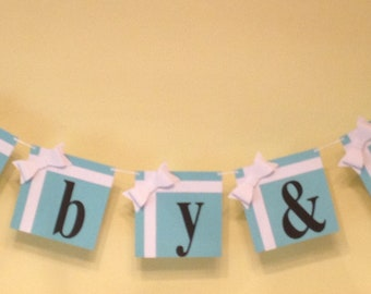 """Breakfast at Tiffany's Tiffany Blue """"Baby & Co."""" Party Decorations - Banner"""