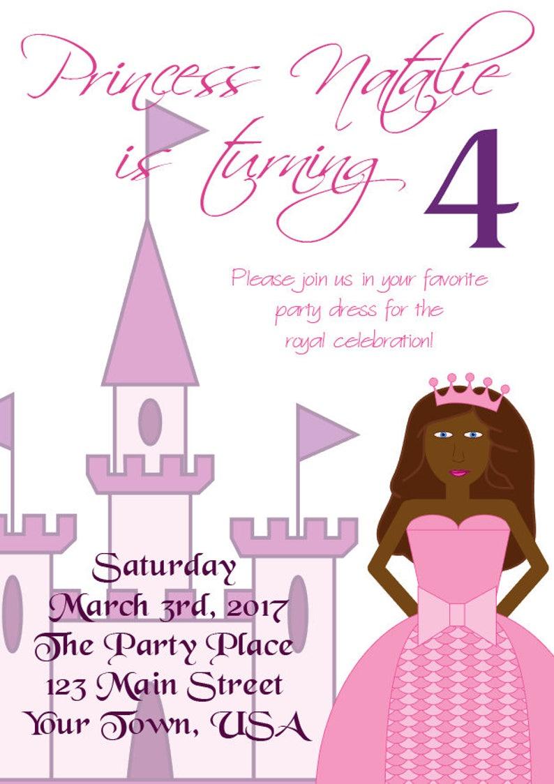 Princess Birthday Invitation Editable PDF
