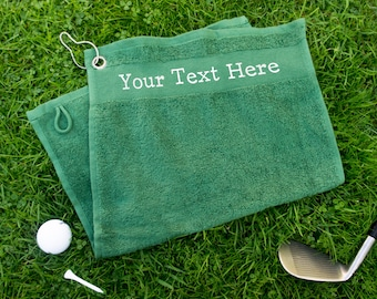74acd4a1 Custom golf towel with any text. Personalised golfers towel with clip on  hook. Your text here. Fathers day golf gift for him, gift for dad