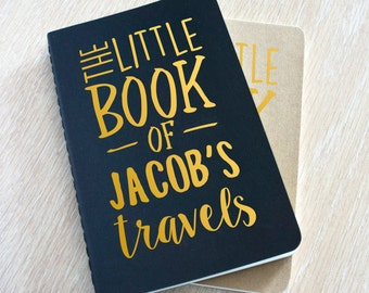Personalised Travel Journal Planner - The Little Book Of Travels, A5 A6 moleskine pocket travellers journal notebook unique gift for him