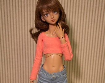 Coral long sleeve crop top for minifee DC kid and slim MSD sized BJD