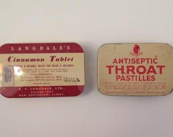 Vintage pastilles tins for altered art or assemblage UK seller