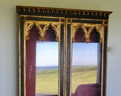 RESERVED - Antique English Ebonized Gothic Display Cabinet with Gilt