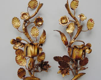 Pair of Vintage Tole Gilt Italian Sconces with Flowers