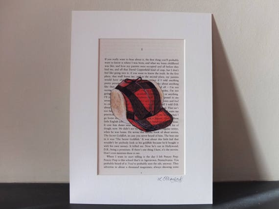 The Catcher In The Rye Art Print Mounted Book Page J D Salinger Holden Caulfield Red Hunting Hat