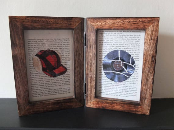 The Catcher In The Rye Art Prints In Double Frame J D Salinger Holden Caulfield Red Hunting Hat Little Shirley Beans