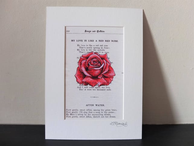 Robert burns red rose art print valentine poem scottish etsy image 0 m4hsunfo