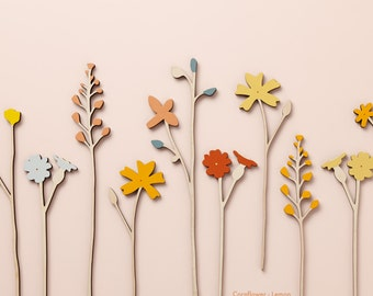 Individual Large Wooden Flower Stems - Wooden Meadow Flowers - Plywood Flowers - Individual Stems