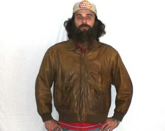 Vintage Leather Aviator Bomber Jacket. Retro Mens Light Brown Leather Bomber Jacket. Cool Guy Winter Coat