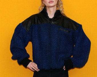 80s Blue Sweater With Leather Trim. Funky 80s Streetwear Sweater. Slouchy Thick Soft P.J. Henry Futuristic Vintage Acrylic And Leather Top