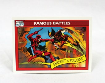 Vintage Daredevil Vs. Wolverine Marvel Comics Trading Card #109. 1990 Marvel Trading Card. Rare 90s Comic Book Trading Card Gift.