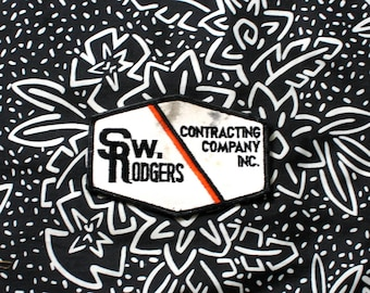 Vintage FSW Rodgers Contracting Company Embroidered Patch. 70s or 80s Rare Worker Trucker Patch. Brown White Orange Worker Patch