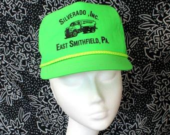 Silverado Inc Trucker Neon Baseball Cap. Retro 80s or 90s Nylon Trucker  East Smithfield 5088f77179e