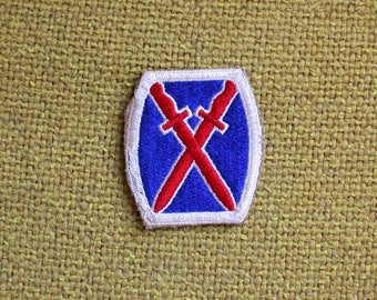 Vintage Military 10th Mountain Division Embroidered Patch. Retro Blue And Red Military Collectible Patch. Army Air Force Navy Marines Patch