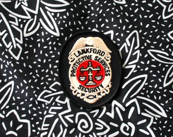 Vintage Lankford Security 80s or 90s Embroidered Patch. Retro Collectible Police Security Patch. Retro Badge Patch