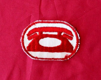 Vintage Telephone Embroidered Patch. Retro White And Red Telephone Repair Man Collectible Patch. Vintage Rotary Phone Accessory.