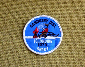 Vintage Sandusky Dist. 1973 Klondike Derby Embroidered Patch. 70s Rare Trucker Patch. Vintage 70s Embroidered Patch Accessory