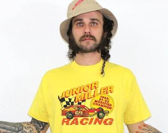 Early 90s Soft Thin Yellow Modified Racing T Shirt. Junior Miller 90-92 Modified Racing Championship T Shirt. Screen Stars Nascar T Shirt.