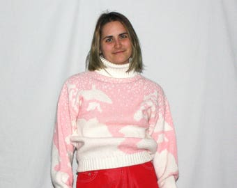 Vintage 80s Pastel Pink And White Turtle Neck Sweater. Cute Pink Womens Winter Sweater. Womens Pink Turtleneck By Pandora.