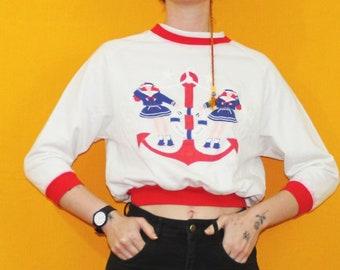 Vintage Nautical XS Cropped Sweatshirt. Osh Kosh Brand Vintage Kids Sailor Crew Neck. Anchor Red And White Ringer Tee Sweatshirt Crop Top.