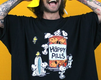 "Snoopy ""Happy Pills"" 5XL T Shirt. Oversized Baggy Snoopy On Xanax T Shirt. Huge Funny Pill Head Pharma Peanuts T Shirt Dress."