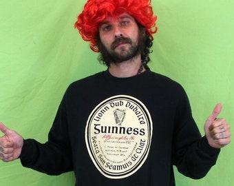 Guinness Beer Crewneck Sweatshirt. Black XL Soft Guinness Irish Beer Sweatshirt. St. Patricks Day Sweatshirt. Beer Crewneck Sweatshirt