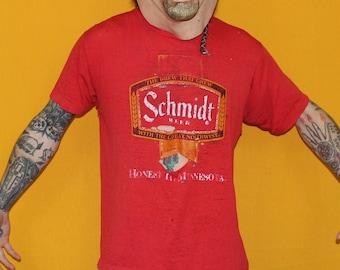 Shredded Vintage Schmidt Beer T Shirt. 70s Paper Thin Distressed Bright Red Schmidt Beer Drink T Shirt. Shredded Grunge Rock Boyfriend Tee