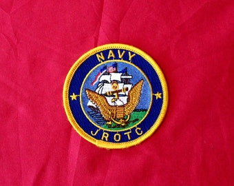 Vintage Navy JROTC Embroidered Patch. Military Patch. Military Gift. JROTC Embroidered Patch. Circle Military Patch. Navy Gift Patch.