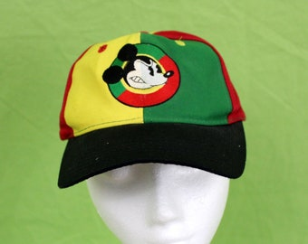 90s Mickey Mouse Baseball Cap. Multi Colored 90s Hip Hop Cross Colours Style Disney Snapback Hat. Small Childrens Or Womens Mickey Mouse Hat