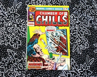 Chamber Of Chills #22 Vintage Marvel Comic Book. 1976 Horror Fantasy Bronze Age 70s Comic Book. Tales From The Crypt Style 70s Horror Comic