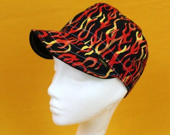 Flame Hat. Thin Lightweight 90s Flame Short Brim Cap. Handmade 90s Guy Fieri Style Hat. 90s Tribal Flame Bad Ass Flame Painters Bikers Cap.