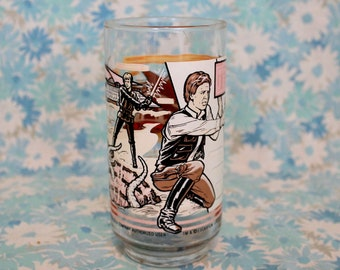 Vintage Star Wars Drinking Glass. Return Of The Jedi 1983 Burger King Glass. Han Solo And Luke Skywalker Star Wars Glass. Sarlac Pit Cup
