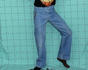 6a532be2c51 70s Blue Denim Bell Bottom Jeans. Size 28-30 Waist Women s Or Mens 70s  Rocker Straight Leg Jeans With Zipper and Cargo Pockets