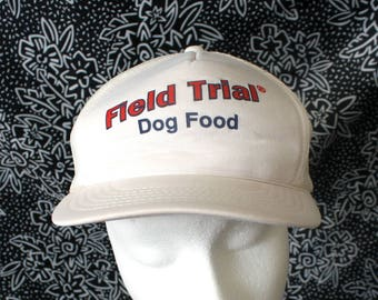 Vintage Trucker Snapback Baseball Cap. Retro Field Trial Dog Food Mesh Back 80s Baseball Cap. Hipster 80s Dog Food Mesh Trucker Cap