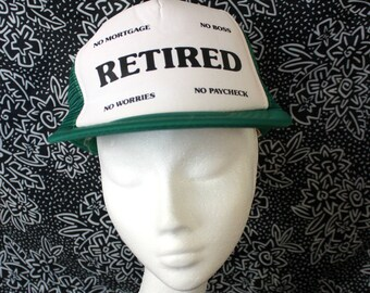 RETIRED Vintage 80s Snapcback Baseball Cap. Funny Retired Gag Gift. Ironic Hipster Hat. Green White Retired Dad Gift Hat.
