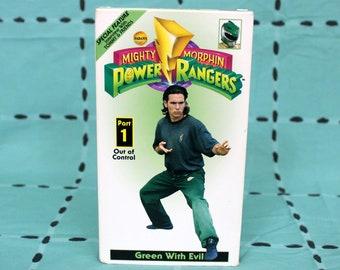 Mighty Morphin Power Rangers 90s VHS Tape. Rare 90s Original Mighty Morphin Power Rangers Green With Evil Vintage VHS Tape