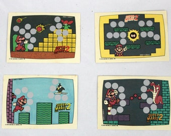 Super Mario Bros. 2 Nintendo Trading Card Set. Rare 4 Card Mario and Luigi 80s Trading Card Collection. Retro 80s 90s Gamer Collectible