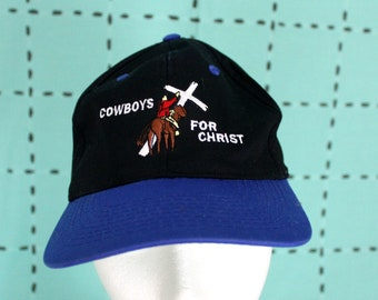 Cowboys For Christ Vintage Baseball Cap. Black And Blue Embroidered Christian Baseball Cap. Jesus Loving Cowboy Hat. Christian Gift Hat.