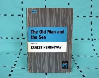The Old Man And The Sea by Ernest Hemingway. 1952 Ernest Hemingway Vintage Paperback Book Gift. Classic Literature.
