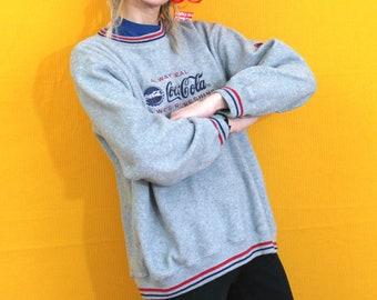 Coca Cola Fleece Pullover Sweatshirt. Soft Gray Large Coca Cola Corporate Logo Embroidered Fleece Sweatshirt. Coke Soda Gift
