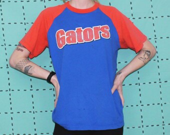 Vintage Florida Gators T Shirt. 90s Small Athletic Streetwear. Lightly Distressed Blue And Orange NCAA Florida Gators Gift T Shirt.