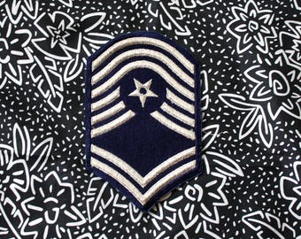 Vintage Military Embroidered Patch. Retro Gray And Navy Blue Military Collectible Patch. Army Air Force Navy Marines Patch