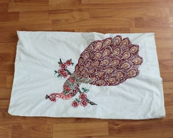 Vintage Handmade Embroidered Peacock Pillow Case. Hand Knit Decorative Retro Pillowcases WithA Peacock On It. 70s Bird Pillowcase
