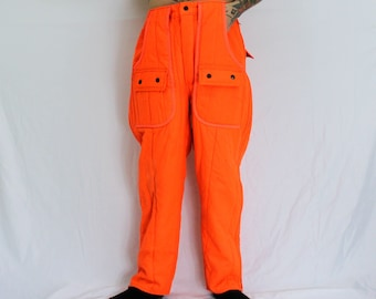 769673db6ca7 Neon Orange Lined Hunting Pants. Thick Warm Winter Bright Orange Safety  Utility Vintage 80s Cargo Pants. 36