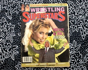 Vintage Wrestling Magazine. Rare 1993 Wrestling Superstars Magazine with Missy Hyatt Ric Flair Cover. Vintage WWF Wcw Wwe Gift.