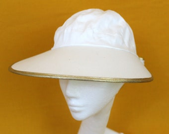 Vintage White Sun Hat. Long Brim Womens White Sun Hat With Gold Borders. Womens White Beach Boat Hat With Huge Ribbon On The Back.