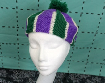 Vintage Womens Beret Beanie. Retro 60s Or 70s Purple Green And White Womens Knit Beret Hat With Pom Pom. Cute Knit 60s Womens Accessorry Hat